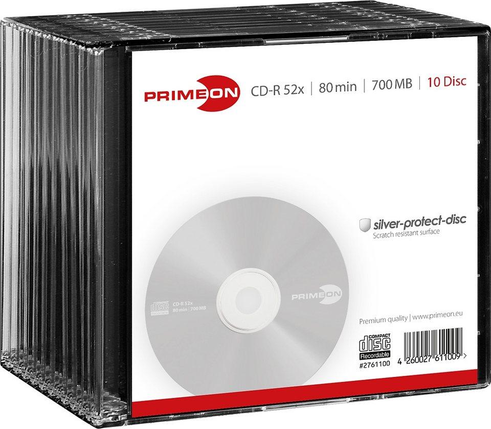 PRIMEON CD-R 80Min/700MB/52x Slimcase (10 Disc) in silver