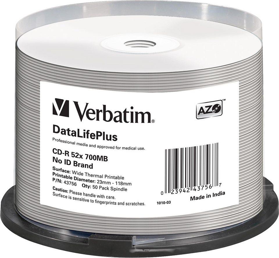 Verbatim CD-R 80min/700MB/52x Cakebox (50 Disc) in white