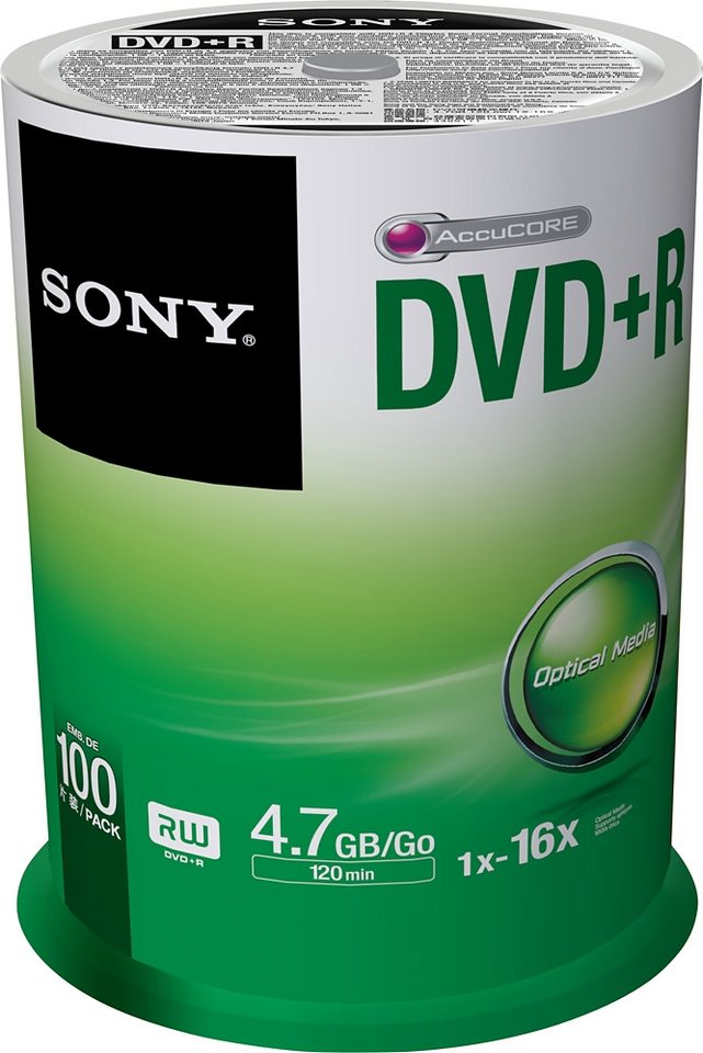 Sony DVD+R 4.7GB/120Min/16x Cakebox (100 Disc)
