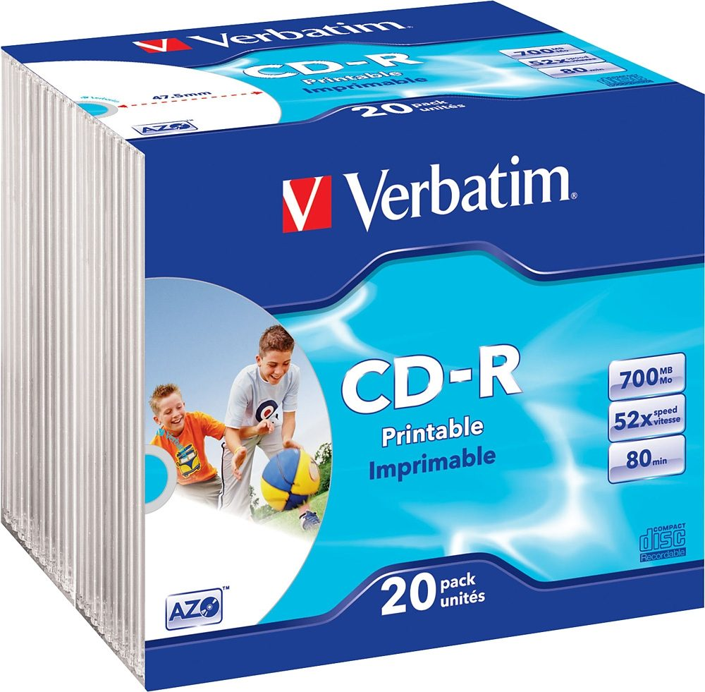 Verbatim CD-R 80min/700MB/52x Slimcase (20 Disc)