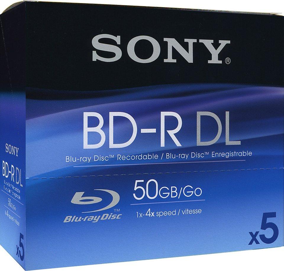 Sony BD-R DL 50GB/1-4x Jewelcase (5 Disc) in silver