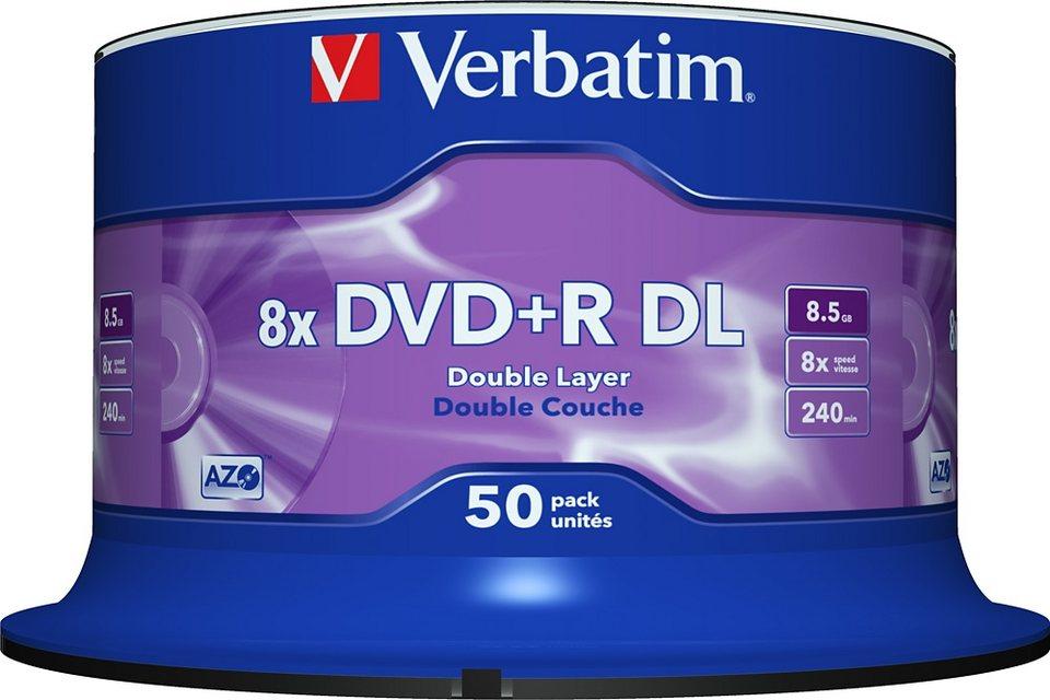 Verbatim DVD+R DL 8.5GB/240Min/8x Cakebox (50 Disc)