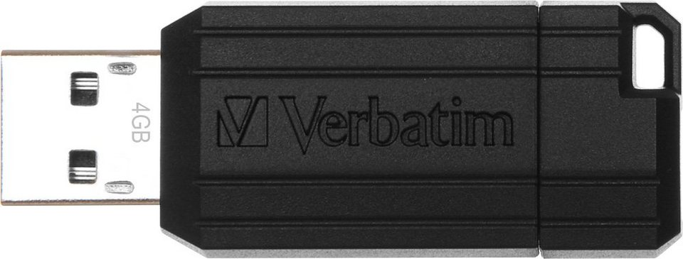 Verbatim USB 2.0 Stick 4GB, Pin Stripe, schwarz in black