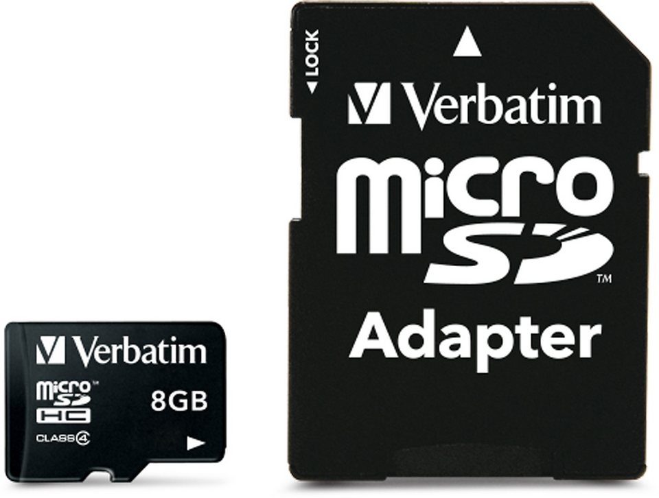 Verbatim microSDHC Card 8GB, Class 4 in black