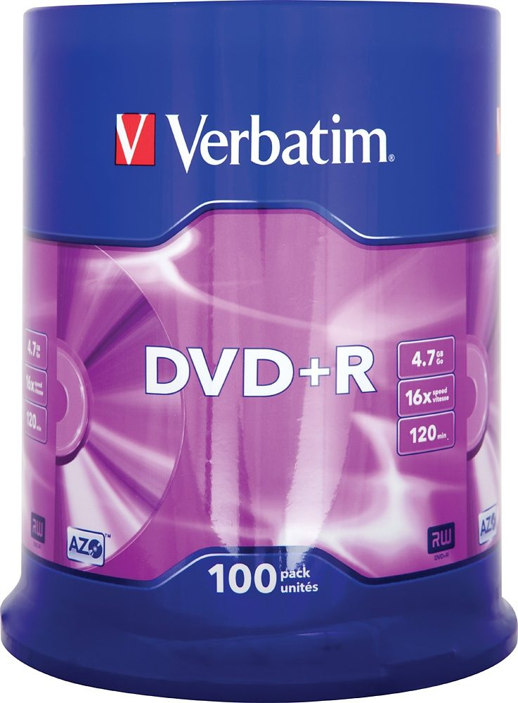 Verbatim DVD+R 4.7GB/120Min/16x Cakebox (100 Disc)
