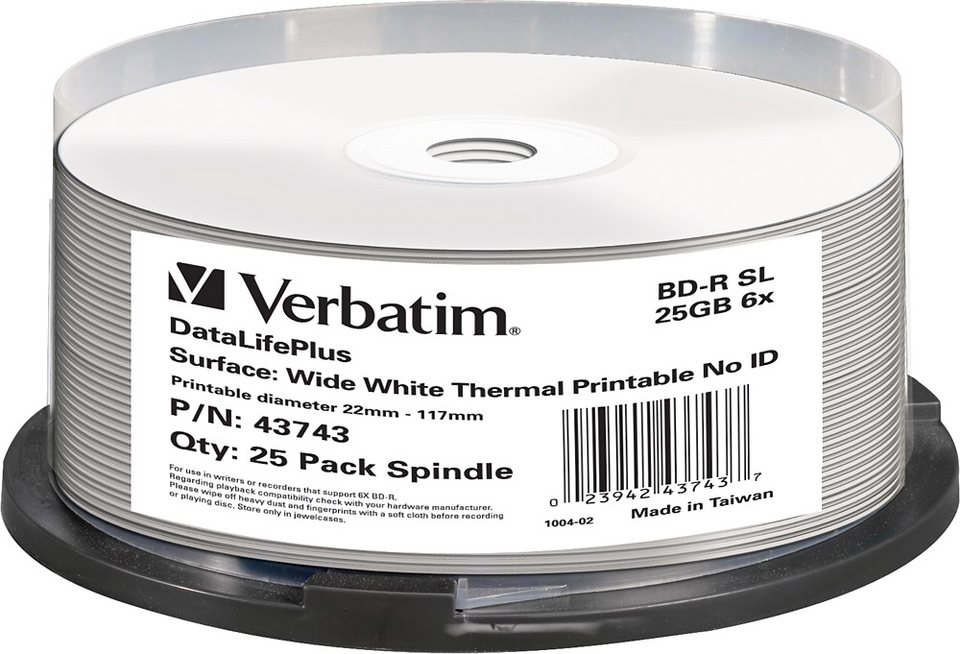 Verbatim BD-R 25GB/1-6x Cakebox (25 Disc) in white