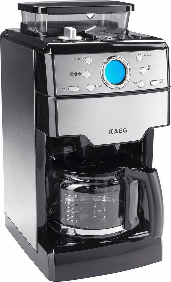 AEG Kaffeemaschine KAM 300 mit integrierter Kaffeemühle, Edelstahl / Schwarz in silberfarben