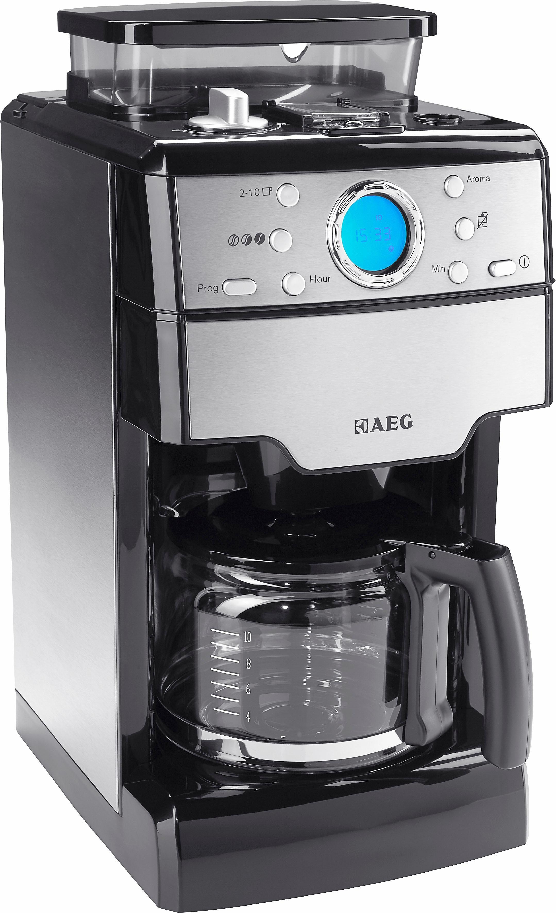 AEG Kaffeemaschine KAM 300 mit integrierter Kaffeemühle, Edelstahl / Schwarz