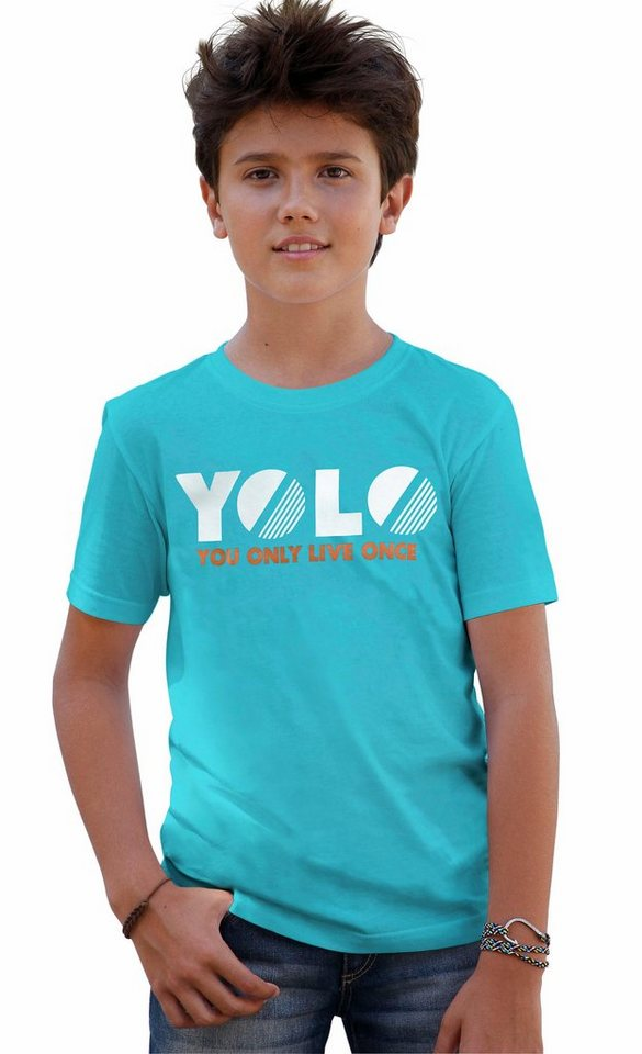 """CFL T-Shirt """"YOU ONLY LIVE ONCE"""" in türkis"""