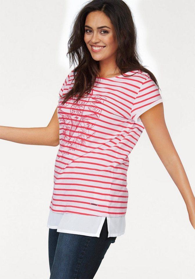 Kangaroos T-Shirt in 2-in-1-Optik in rot-wollweiß