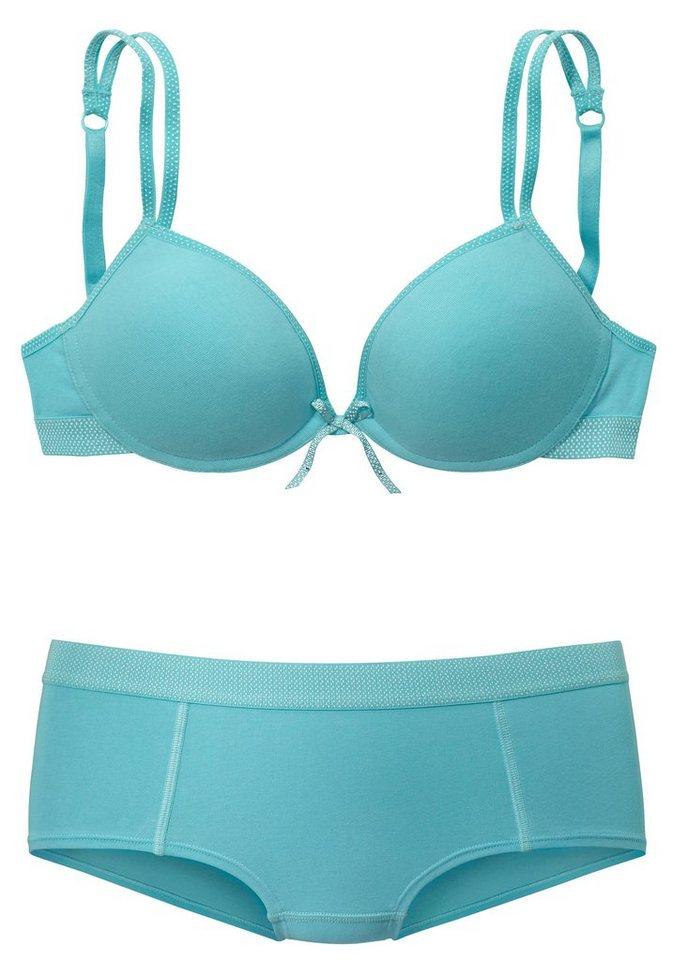Boobs&Bloomers Set: Teenie Bralette BH ohne Bügel aus Baumwolle+ gratis Panty in turquise