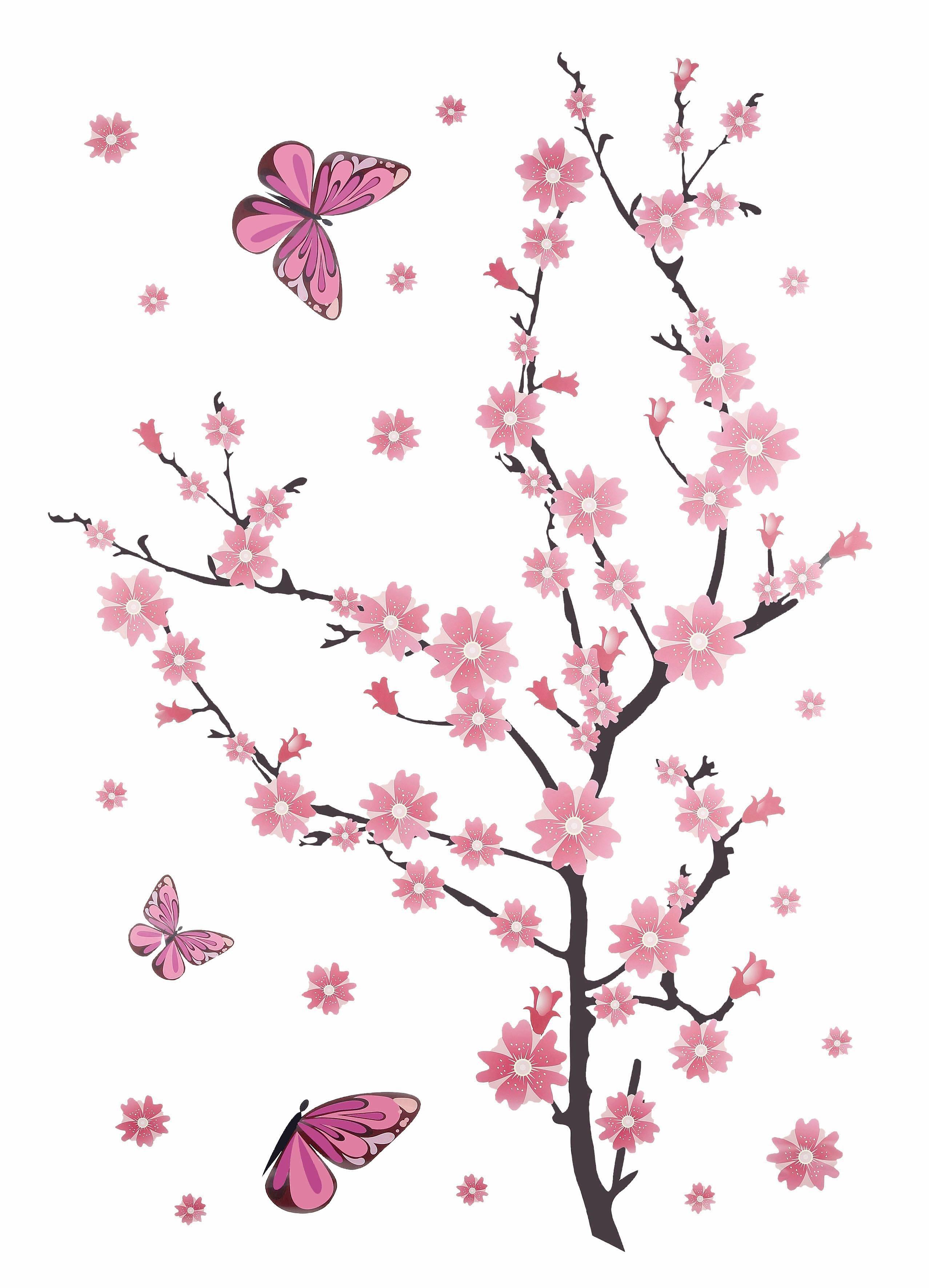 Wandsticker, Home affaire, »Kirschblüten mit Schmetterlingen«