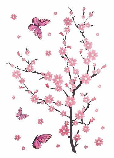 Home affaire Wandtattoo »Kirschblüten mit Schmetterlingen«