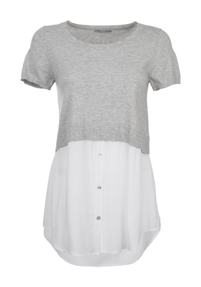 TUZZI Kurzarm-Pullover in grey melange