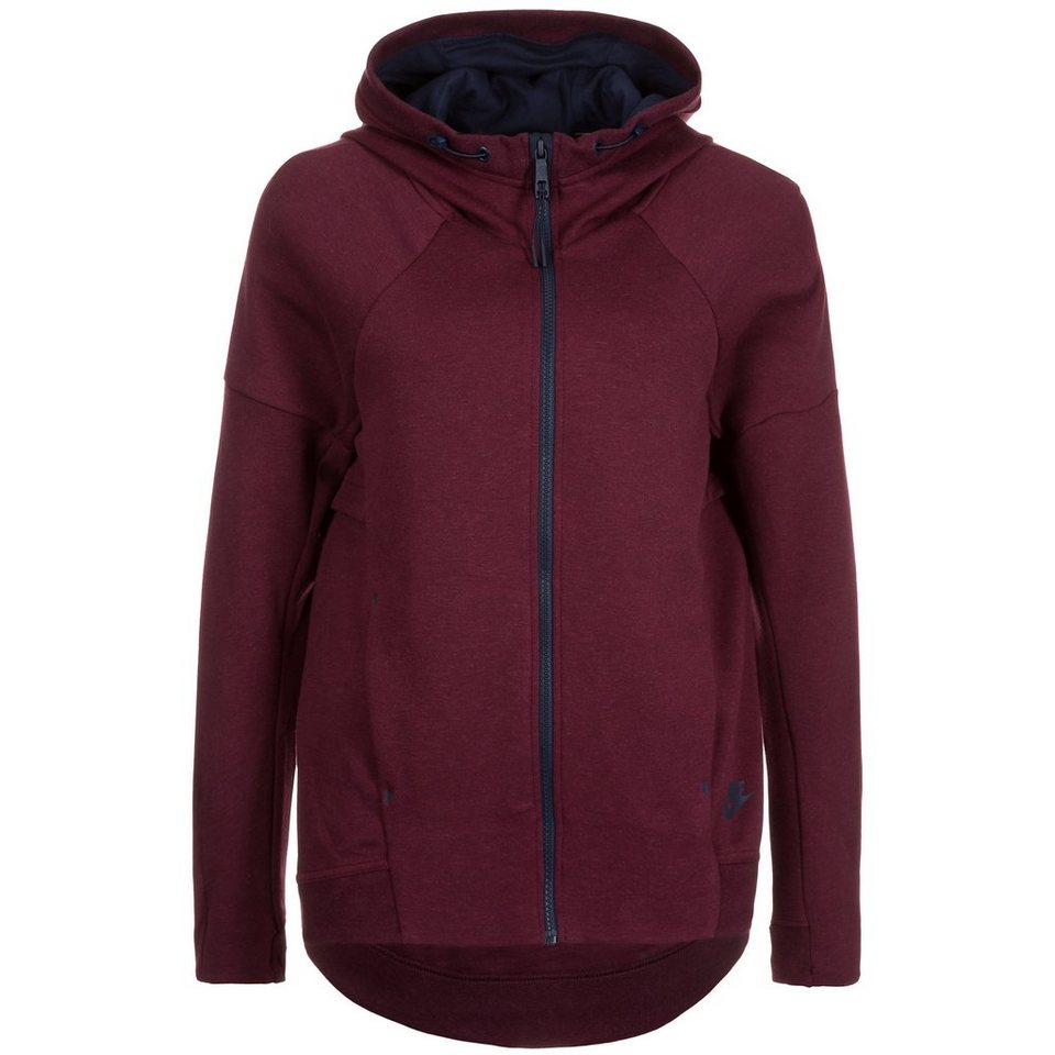 Nike Sportswear Tech Fleece Kapuzenjacke Damen in bordeaux / dunkelbla