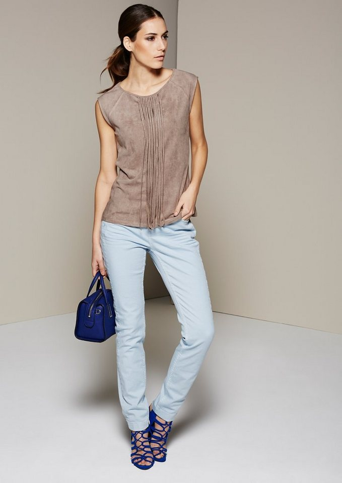 COMMA Klassische Jeans in dezentem Used-Look in candy blue