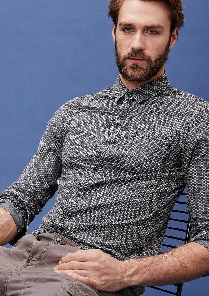 s.Oliver Denim Extra Slim: Hemd mit Minimal-Muster in grey melange AOP