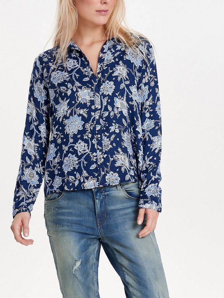 Only Bedrucktes Langarmhemd in Moonlight Blue
