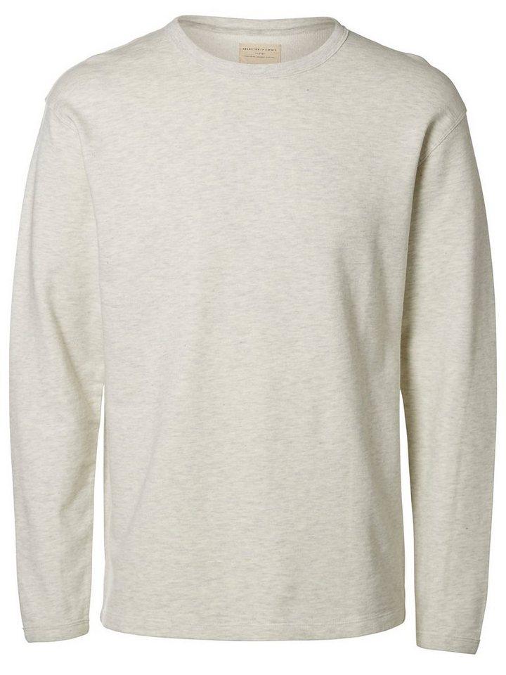 Selected Crew-Neck- Sweatshirt in Marshmallow