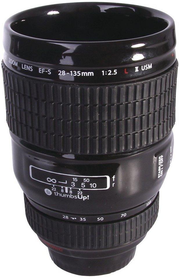Thumbs Up Trinkbecher »Keramik-Trinkbecher Kameraobjektiv« in schwarz