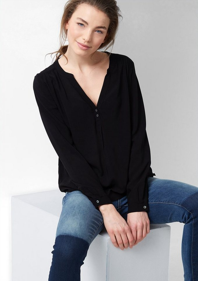 s.Oliver Denim Vokuhila-Bluse mit Perlmuttknöpfen in black