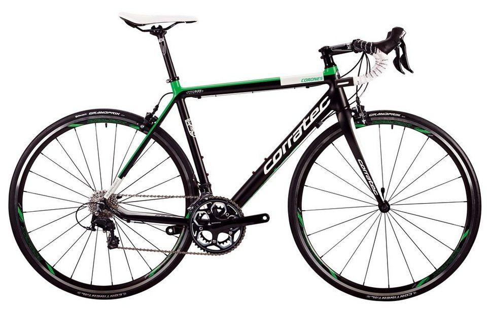 Corratec Rennrad, 28 Zoll, 22 Gang Shimano Kettenschaltung, »Corones 105« in schwarz-grün