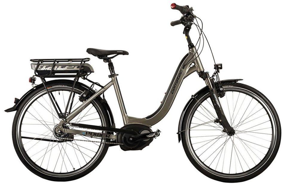 Corratec Damen City E-Bike, 26 Z, 8 Gg Nabensch, Mittelmotor, »E-Power 26 Coaster Active Lady 400« in grau