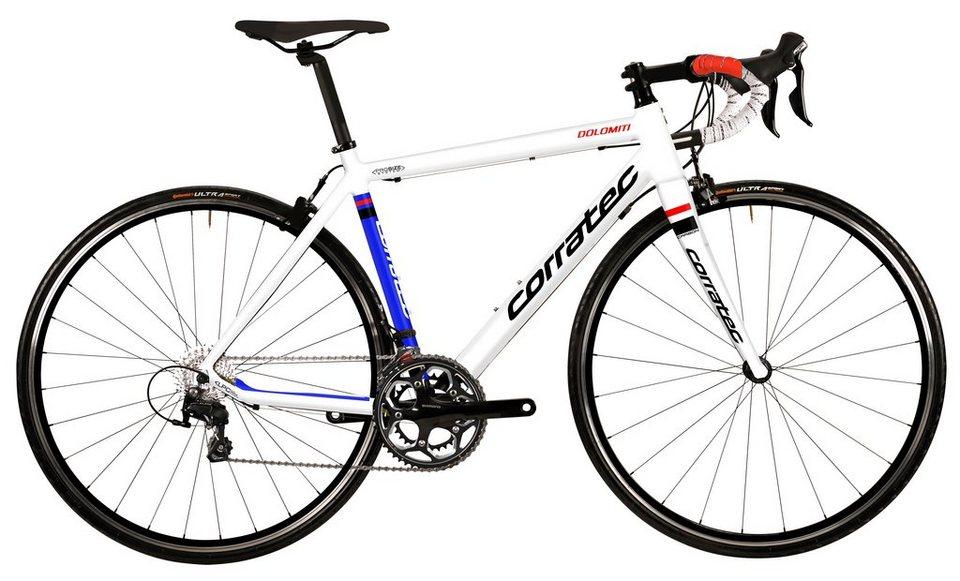Corratec Rennrad, 28 Zoll, 20 Gang Shimano Kettenschaltung, »Dolomiti Tiagra« in weiß-blau