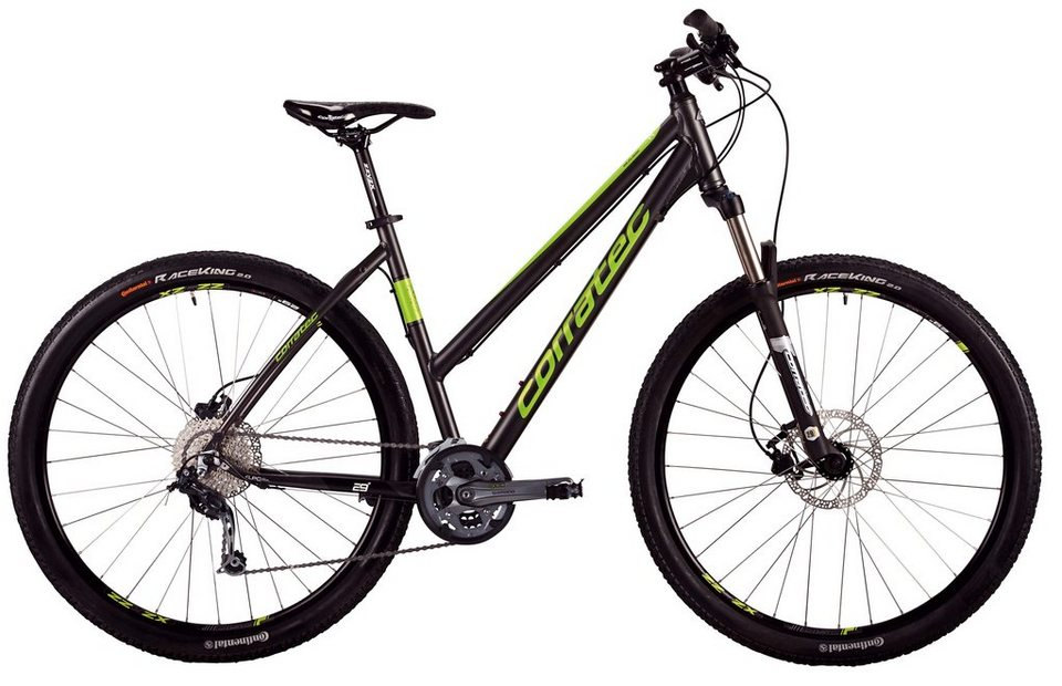 Corratec Damen Hardtail MTB, 29 Zoll, 27 Gang Shimano Kettenschaltung, »MT Cross Base Lady« in grau-grün