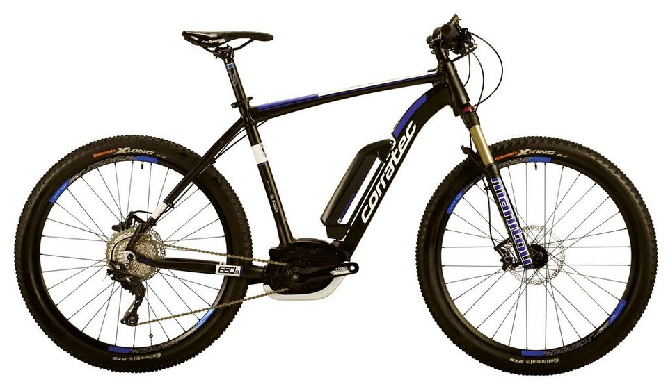 Corratec He-Mountain-E-Bike, 27,5 Z, 11 Gg Kettensch., Mittelm., »E-Power X-Vert 650B CX 25 500W« in schwarz-blau