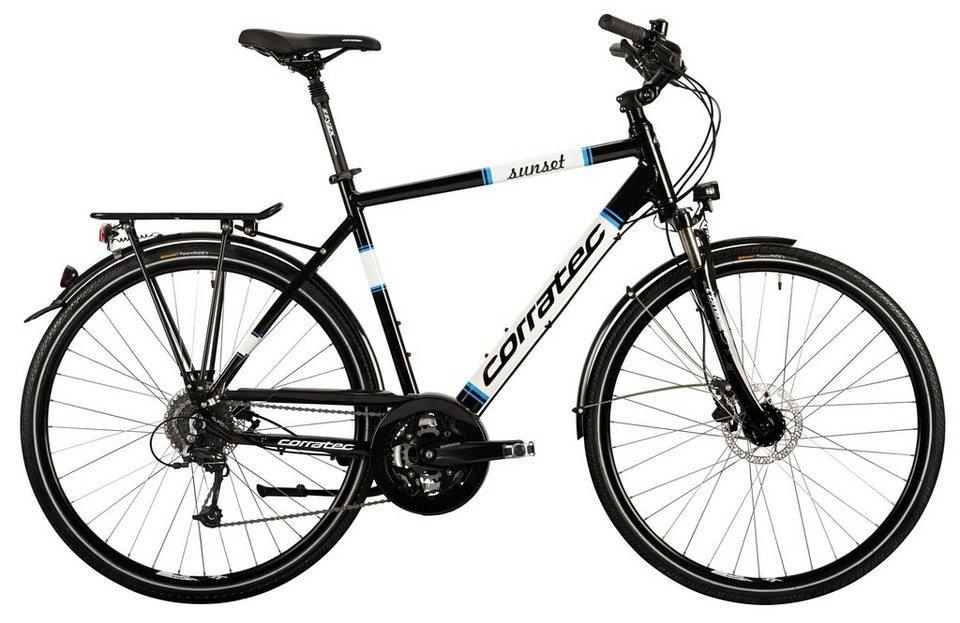 Corratec Herren Trekkingrad, 28 Zoll, 27 Gang Shimano Kettenschaltung, »Trekking Sunset Gent« in schwarz-weiß