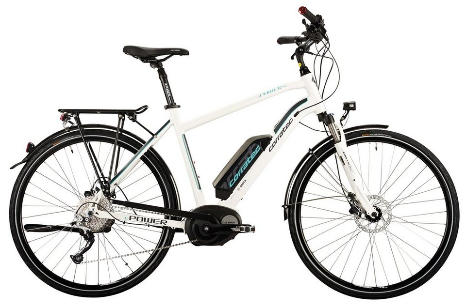 Corratec Herren City E-Bike, 28 Zoll, 10 Gg Kettensch,Mittelmotor, »E-Power 28 Active 10s Gent 400W« in weiß