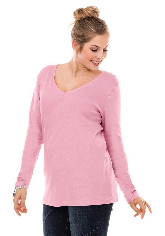 sheego Casual BASIC Langarmshirt mit V-Ausschnitt in rose
