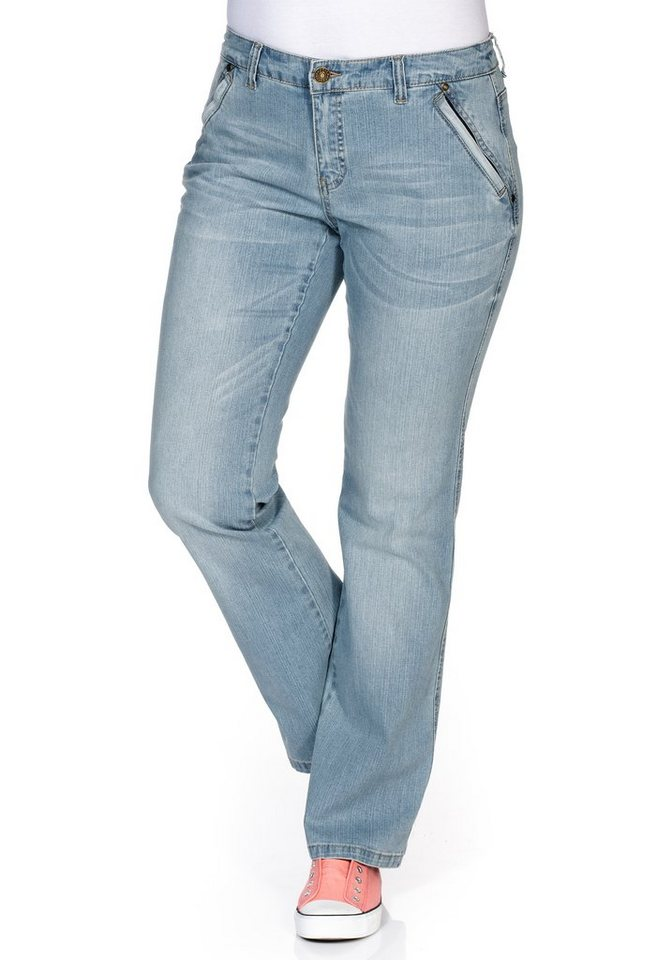 sheego Denim Bootcut Stretch-Jeans in light blue Denim
