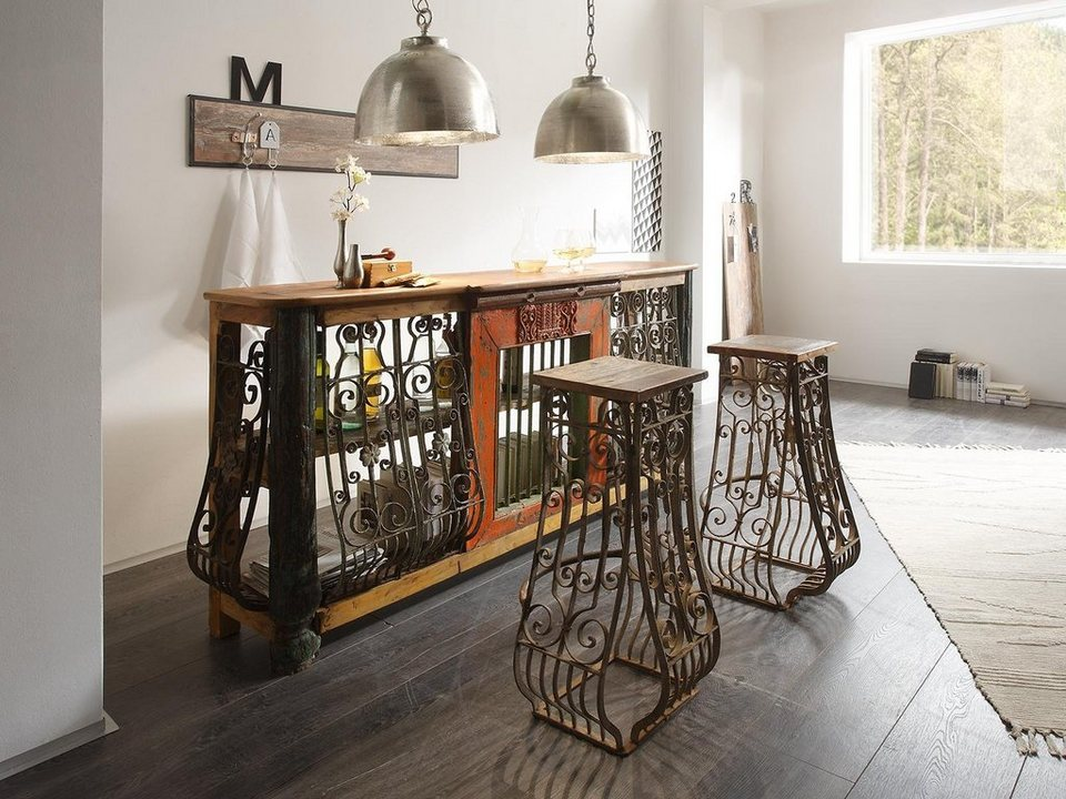massivum Tischgruppe aus Hartholz »Unikate« in braun