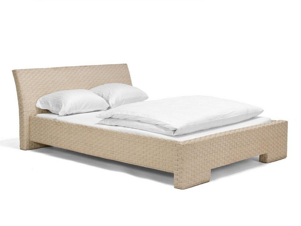 massivum Bett aus Rattan »Leona « in weiß