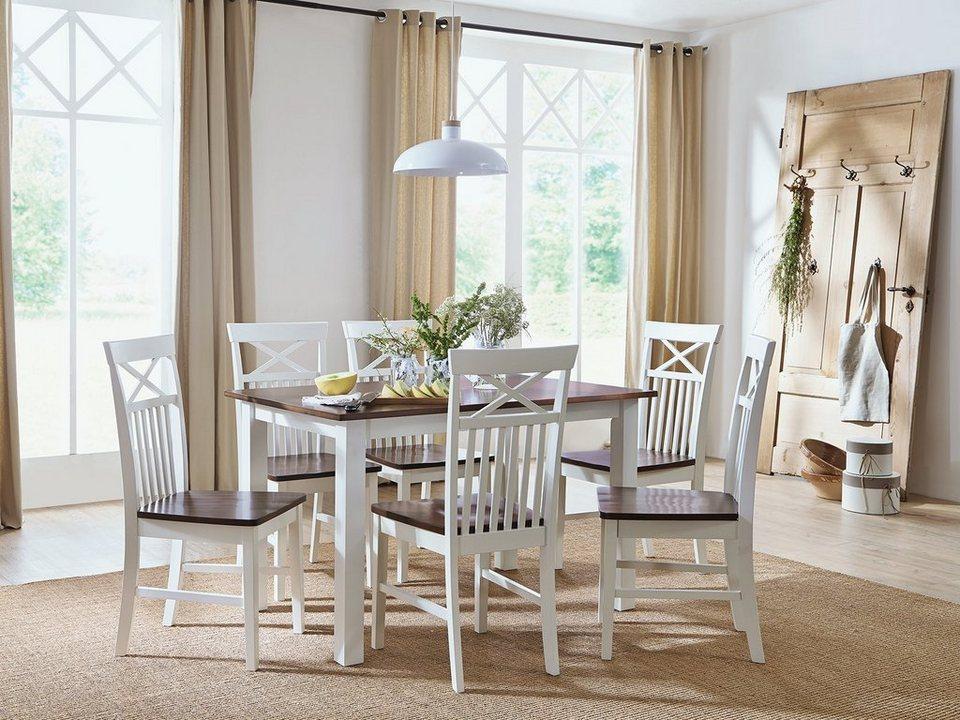 massivum Tischgruppe aus Rubberwood »Caprera« in weiß