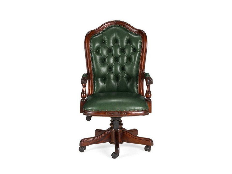 massivum Stuhl aus Echtleder »Cambridge« in grün
