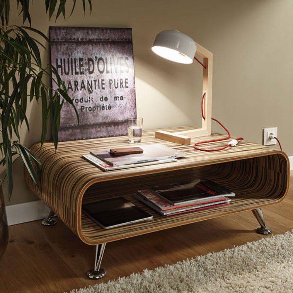 Licht-Trend Tischleuchte »Woodano Holz-Tischleuchte mit rotem Textilkabel«