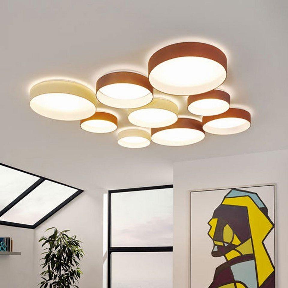 Licht-Trend Deckenleuchte »Palo LED-Deckenleuchte mit Textilschirm in Taupe« in Weiß