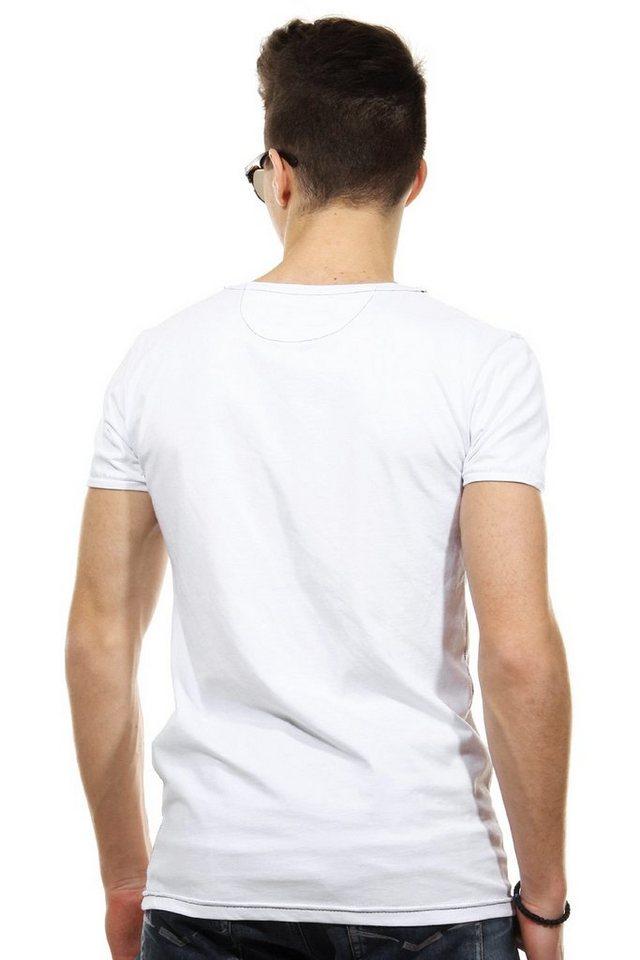 CATCH T-Shirt V-Ausschnitt slim fit in weiss/schwarz