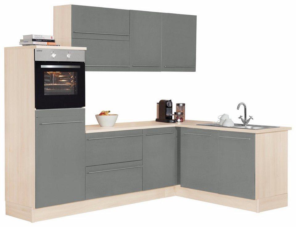 Optifit Winkelküche mit E-Geräten »Bern«, Stellbreite 255 x 175 cm in basaltgrau