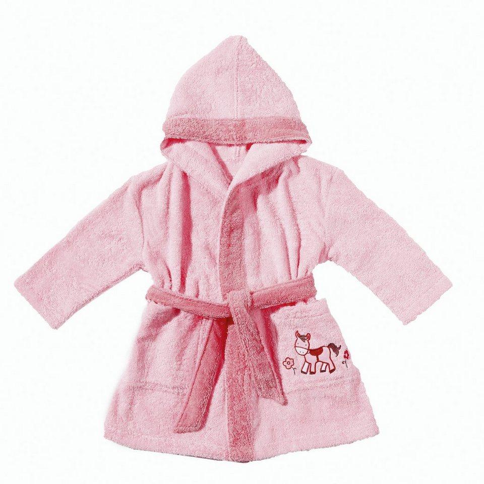 Babybademantel, Egeria, »Pony«, mit kleiner Stickerei in rosa