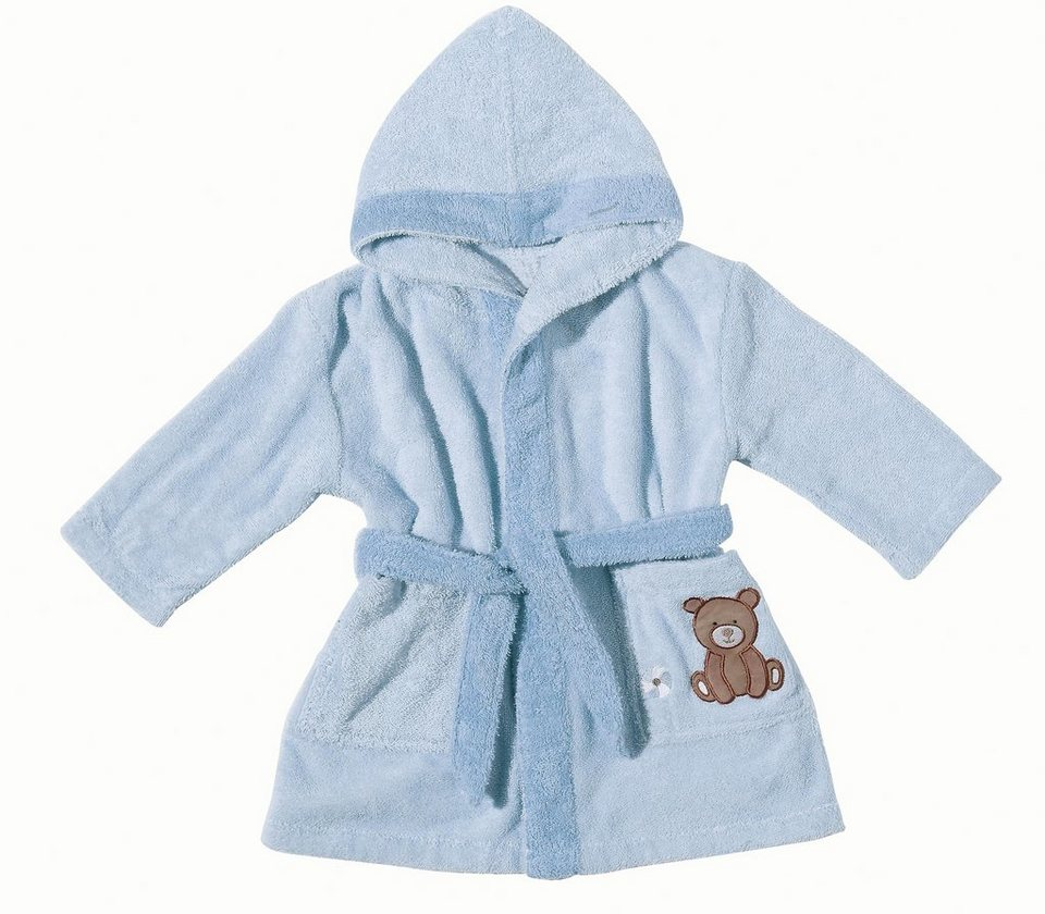 Babybademantel, Egeria, »Teddy Bear«, mit Stickerei in hellblau