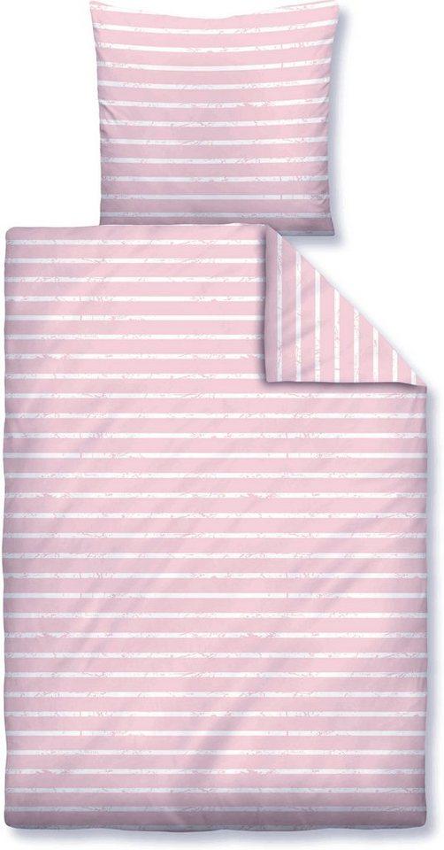 Kinderbettwäsche, Biberna, »Vintage«, mit feinen Streifen in rosé