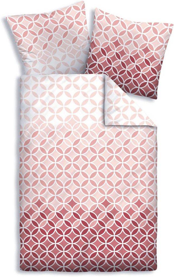 Bettwäsche, Biberna, »Fith«, mit kleinen Kreisen in rosé