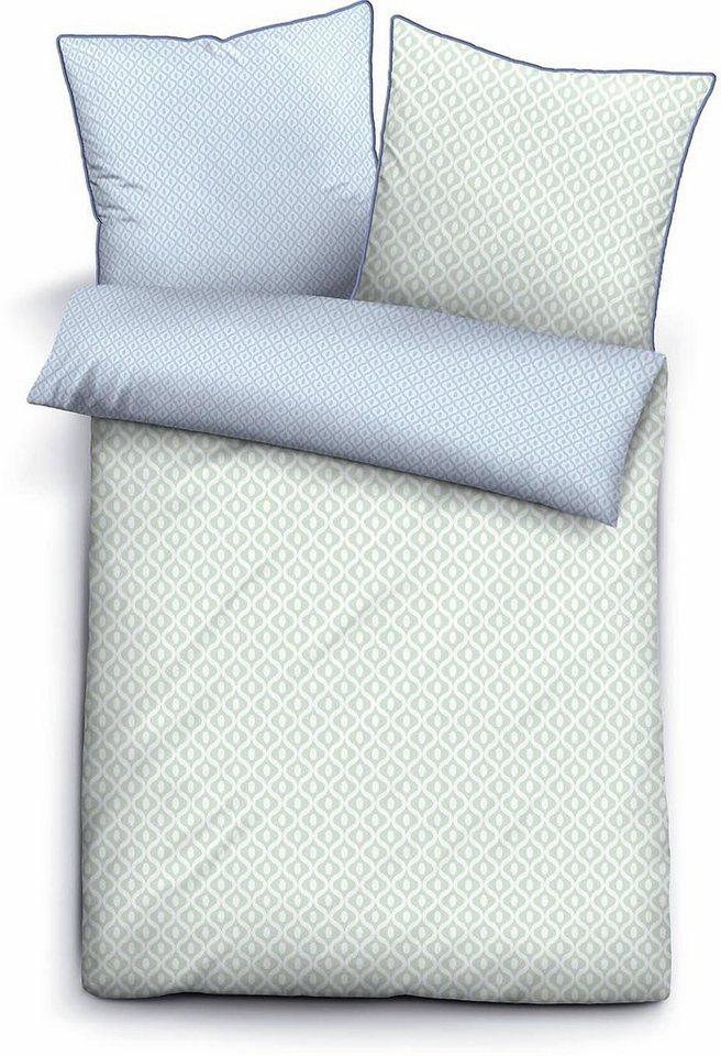 Wendebettwäsche, Biberna, »Ovalus«, mit dezenten Mustern in mint-blau