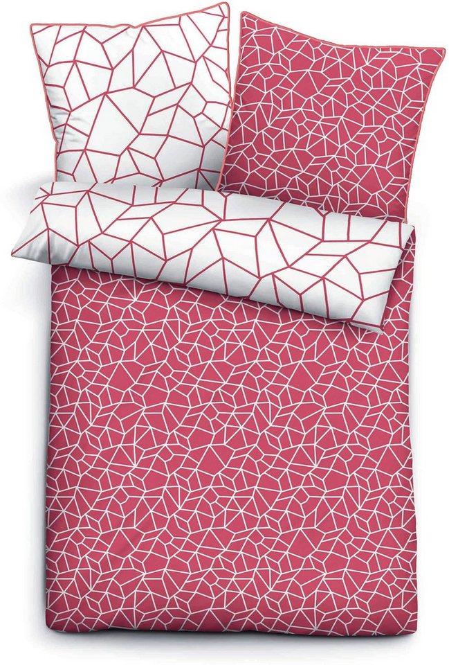 Wendebettwäsche, Biberna, »Crash«, mit Splitter-Muster in rot-silberfarben
