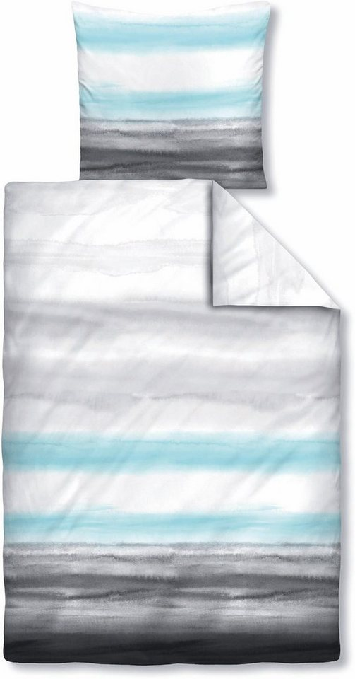 Bettwäsche, Biberna, »Shave«, mit verwischten Linien in grau-blau