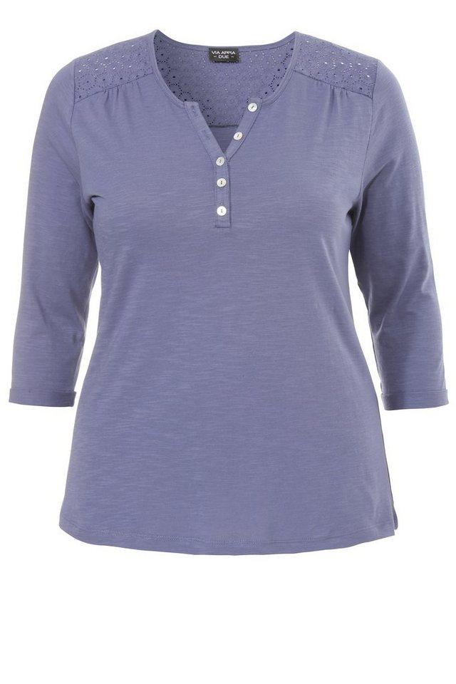 VIA APPIA DUE 3/4-Arm Shirt mit Knopfleiste in KORNBLUME